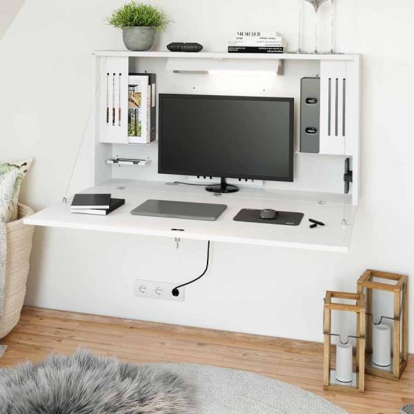 Wandschreibtisch weiß - geöffnet mit Monitor