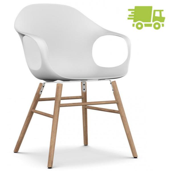 Kristalia ELEPHANT Stuhl mit Holzgestell Eiche Sitzschale weiß - schnell geliefert