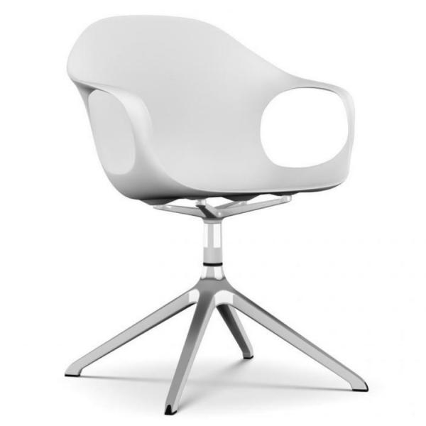 Kristalia ELEPHANT Drehstuhl Sitzschale weiß Gestell verchromt glänzend