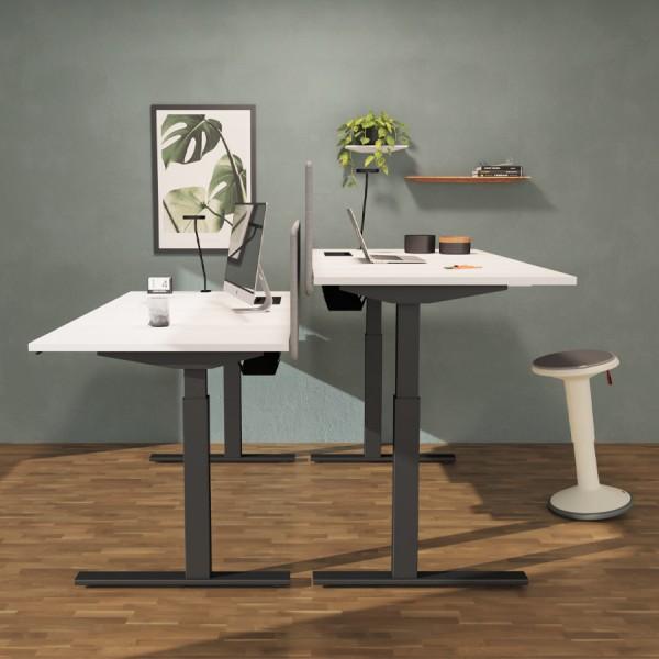 RWH Milano Schreibtisch elektromotorisch weiß - Gestell schwarz