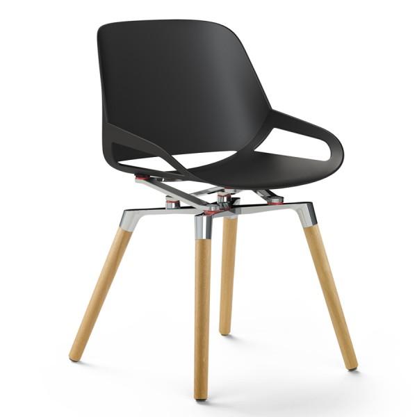 Aeris Numo Holzgestell - Sitzschale schwarz - Kinematik poliert - ohne Sitzkissen