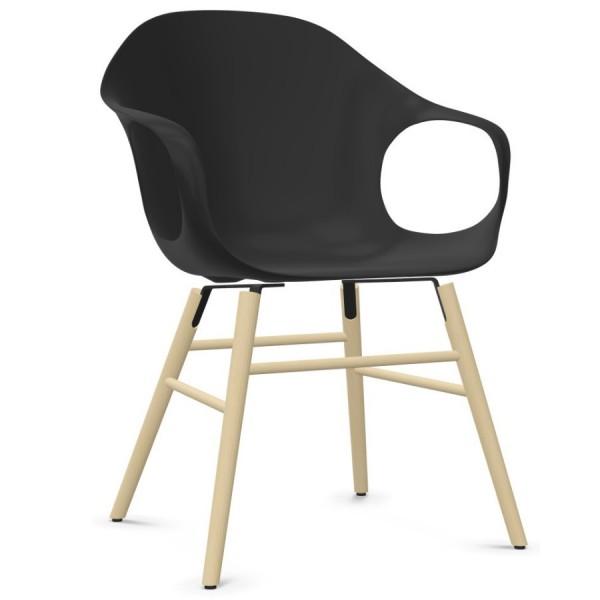 Kristalia ELEPHANT Stuhl mit Holzgestell Sitzschale schwarz