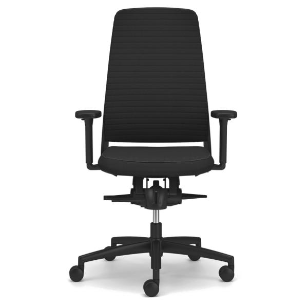 TENSA.NEXT Bürodrehstuhl mit Polsterrücken Querprägung schwarz Frontansicht