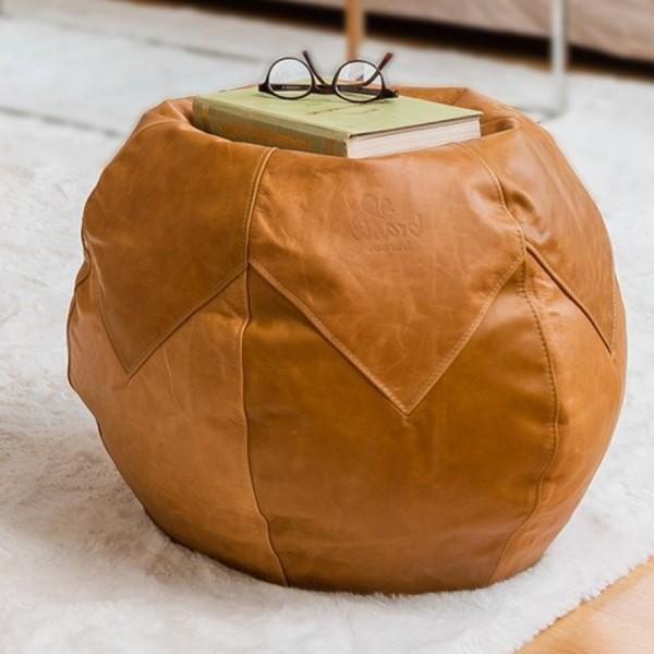 Brasilheroe Fußhocker Leder Premium - einfarbig hellbraun