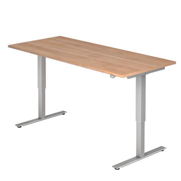 Schreibtisch MOVE IT Platte Nussbaum Nachb. Gestell silbern