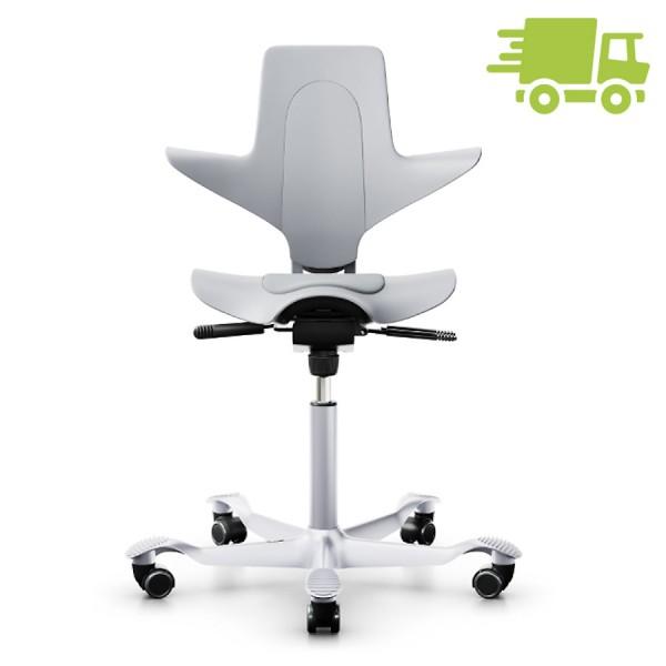 Capisco Puls 8010 grau mit grauer Sitzfläche Fußkreuz silbern