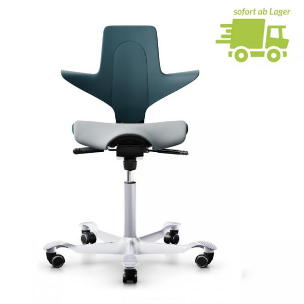 HAG Capisco Puls 8020 petrol silber mit grauer Sitzflächenmatte