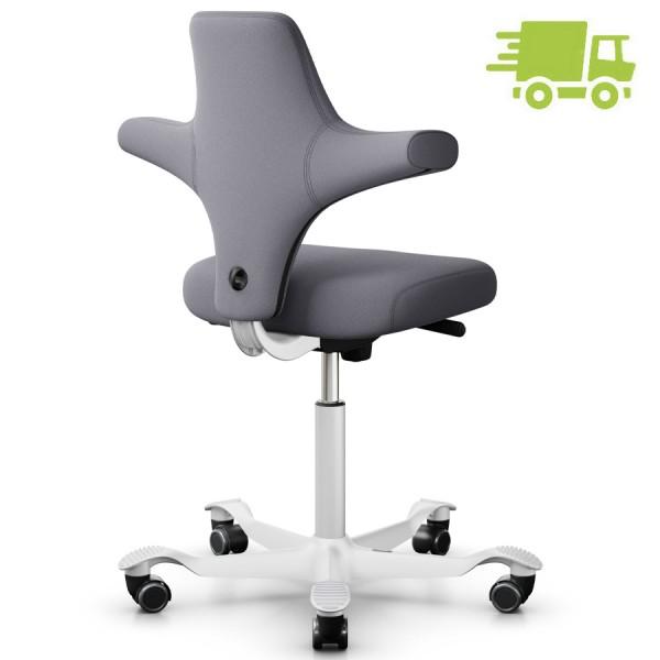 HAG CAPISCO 8126 Stoff Xtreme grau mit flachem Sitz - Gestell weiß