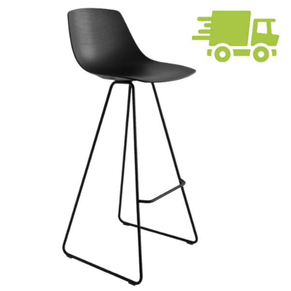 lapalma MIUNN Barhocker Kufengestell schwarz mit Sitzschale schwarz gebeizt - schnell geliefert