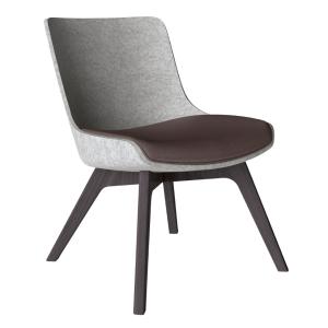 Klöber WOOOM (woo56) Sessel niedrig mit Holzgestell ohne Seitenwangen und Armlehnen