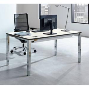 Schreibtisch SINAC von Palmberg Rohr-in-Rohr Gestell Quadratrohr chrom