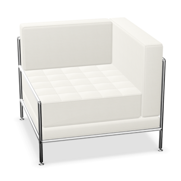 Bosse Modul Space Sessel mit rechter Armlehne in Leder Weiß