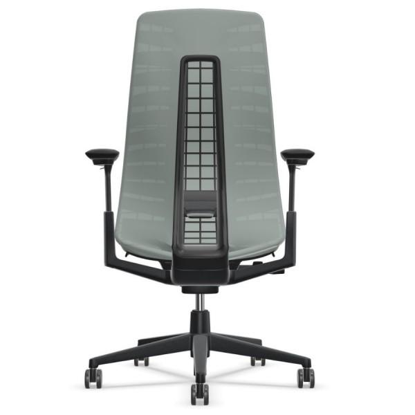 HAWORTH Fern Bürodrehstuhl schwarz silber mit Netzrücken - Rückansicht