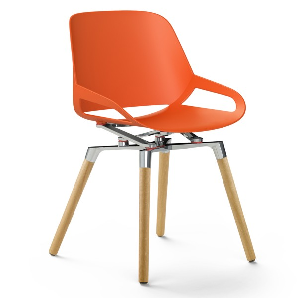 Aeris Numo Holzgestell - Sitzschale orange-rot - Kinematik poliert - ohne Sitzkissen