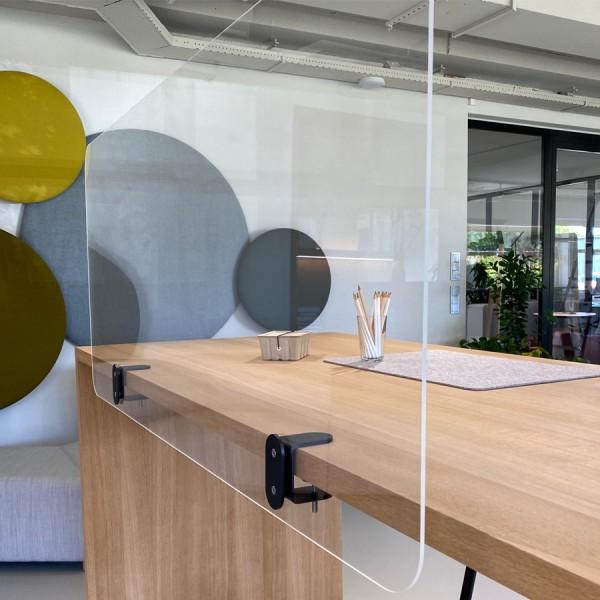 Cascando Acrylglas klar Schreibtisch Trennwand mit Klemmbefestigung