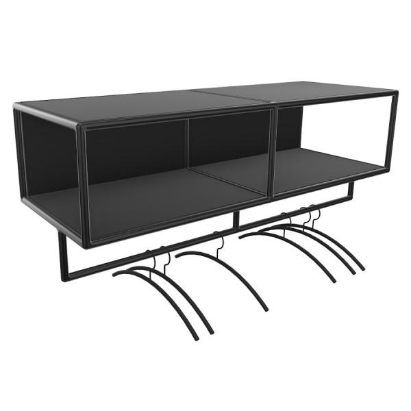 Bosse >Garderobe Black Edition Breite 120 cm in Melamin Schwarz