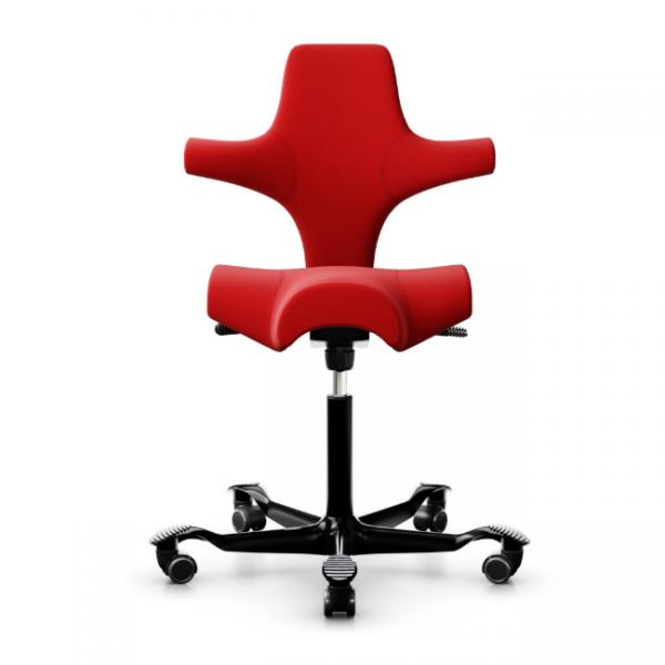 HAG Capisco 8106 Bürostuhl mit Stoff Xtreme rot und Gestell Alu schwarz