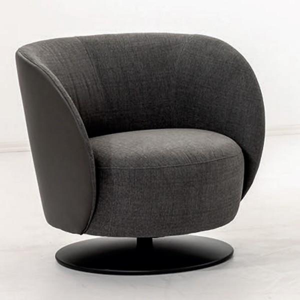 W. Schillig Einzelsessel Eleganza mit Metallfüßen - außen Leder schwarz - innen Stoff black-white