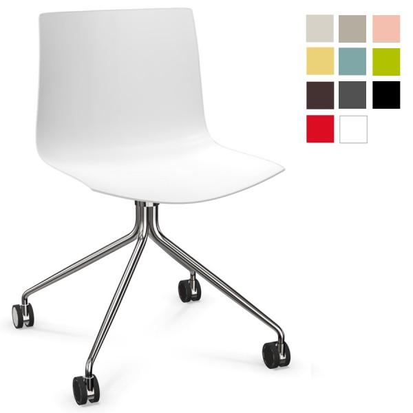 Arper CATIFA 46 0273 Stuhl mit Stahlfußgestell auf Rollen einfarbig