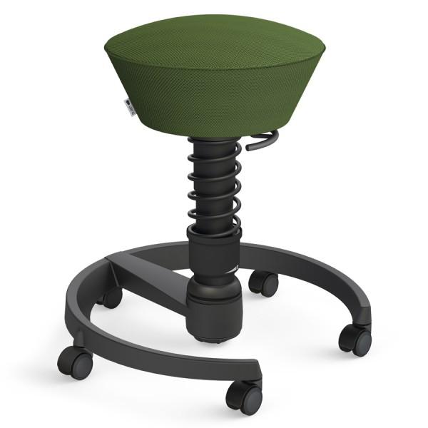 Aeris Swopper Air Mesh-Gewebe Runner grün mit Rollen - Gestell schwarz - Standardfeder