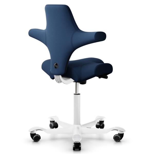 HAG CAPISCO 8106 Stoff Xtreme blau mit Sattelsitz 200 mm Gasfeder Gestell weiß