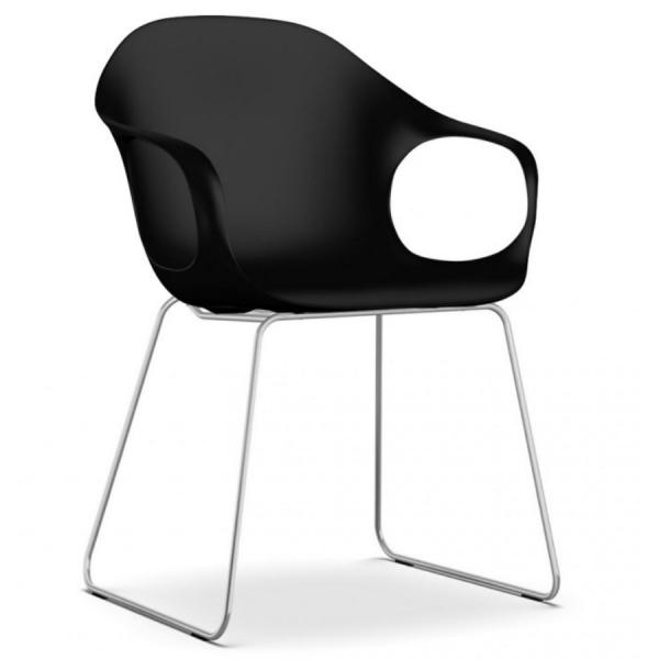 Kristalia ELEPHANT Stuhl schwarz mit Kufengestell verchromt - Frontansicht