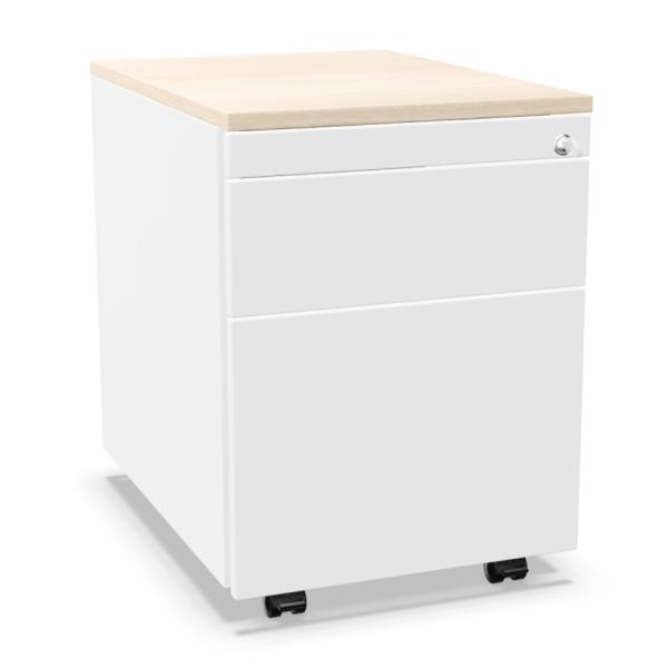 Palmberg Rollcontainer ORGA PLUS 36+1 weiß mit Deckplatte Ahorn