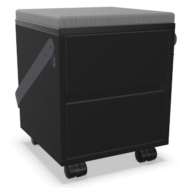 Palmberg Rollcontainer/Sitzhocker FIFFI schwarz mit Gurt u. Sitzkissen grau