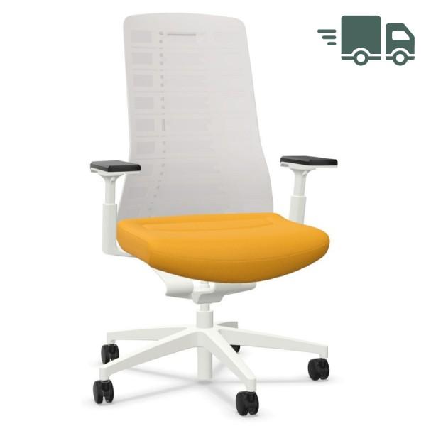 Interstuhl PUREis3 PU213 Bürostuhl weiß mit Netzrücken Farbe maisgelb 3D-Armlehnen - schnell geliefert
