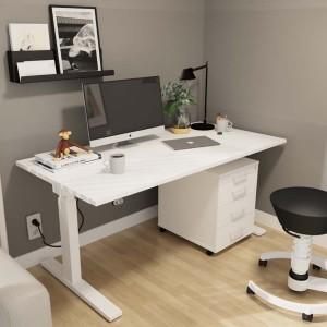 RWH Action Schreibtisch elektrisch verstellbar weiß - mit Rollcontainer ROCK