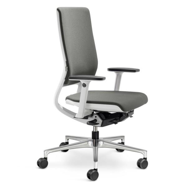 Klöber MERA 98 weiß mit hoher Rückenlehne Stoff Comfort grau