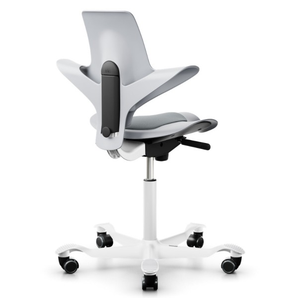 Capisco Puls 8010 grau mit grauer Sitzfläche Fußkreuz silbern Rückansicht
