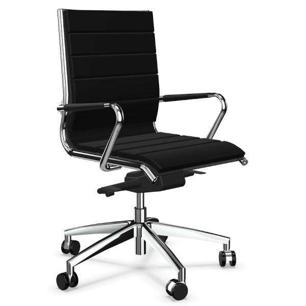LD Seating Puto Chefsessel mit Netzbezug in schwarz mit Armauflgen
