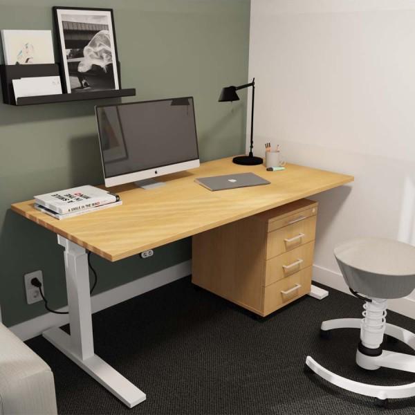 RWH ACTION elektrisch verstellbarer Schreibtisch Eiche - Gestell weiß - mit Container