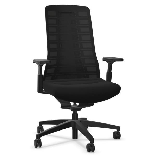 Interstuhl PUREis3 PU213 Bürostuhl schwarz mit Netzrücken 3D-Armlehnen