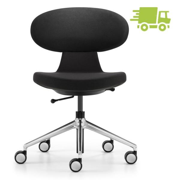 Girsberger Simplex Bürostuhl Homeoffice schwarz mit Designrollen