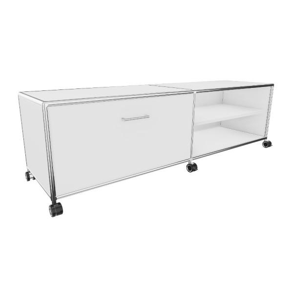 Bosse TV-Board 1 OH Breite 160 cm in Melamin Weiß mit 1 Klappe und 1 offenen Fach