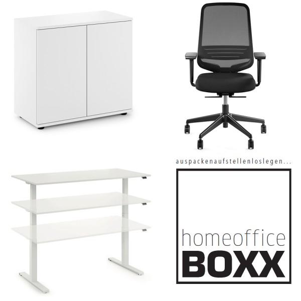 FM Homeoffice BOXX 3.1 - EASY GO Schreibtisch, ATTACK Bürodrehstuhl und SPACE Flügeltürenschrank