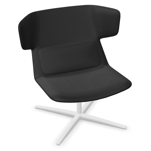 LD Seating Ohrendrehsessel FLEXI Gestell weiß pulverbeschichtet in schwarz