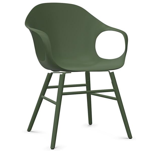 Kristalia ELEPHANT Stuhl mit Holzgestell olivgrün Sitzschale olivgrün