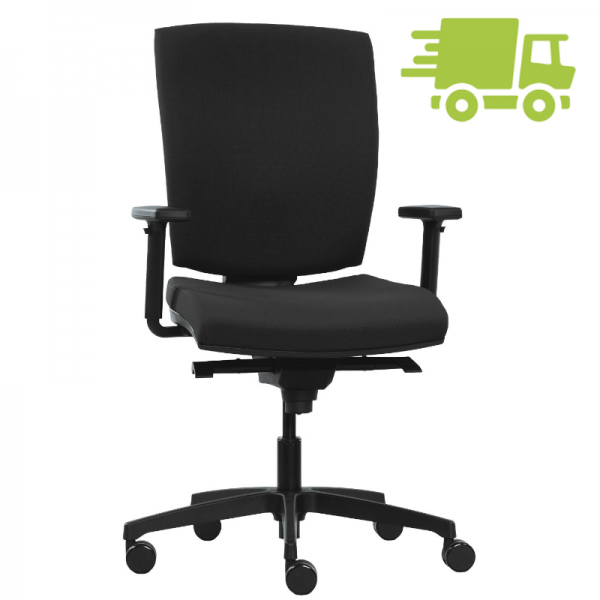 RWH Fast Bürodrehstuhl mit Polsterrücken schwarz