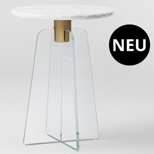 MILLION Copenhagen CUPOLA Side Table - graue Marmorplatte - transparenter Glasfuß