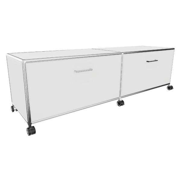 Bosse TV-Board Höhe 1 OH Breite 160 cm in Melamin Weiß mit Klappe